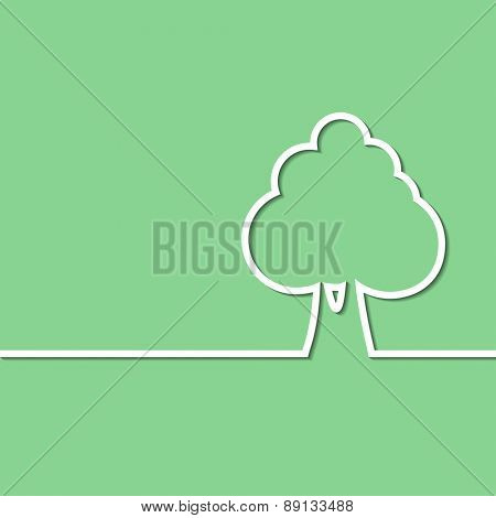 Illustration of a abstract tree on a green background. Vector.