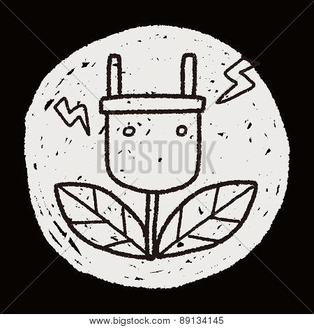 Environmental Protection Concept; Saving Energy To Protect Our Environment; Doodle