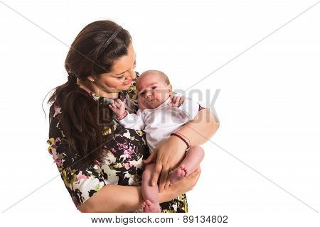 Mother Caring Newborn Baby Girl