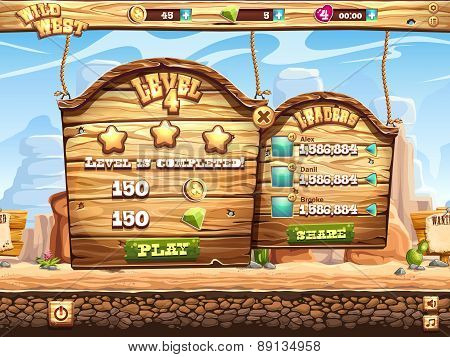 Example Of Window Complete The Level And Receive Awards For Playing Wild West