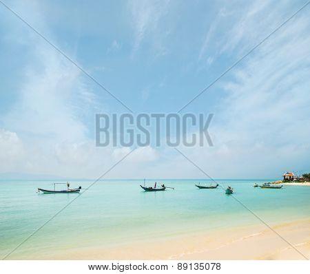 Fisherman boats in the sea