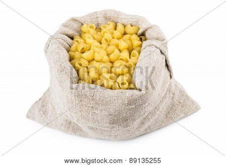 Pasta In Bag Of Coarse Cloth Isolated On White