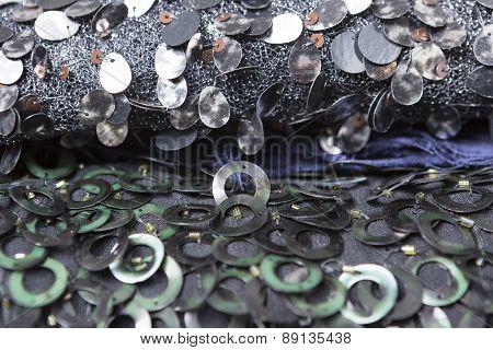 Sequin Fabric Background.