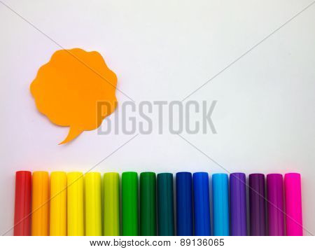 Colorful Balloons And Pens (white Background)