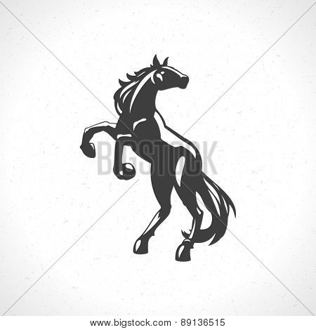 Horse logo emblem template mascot symbol for business or shirt design. Vector Vintage Design Element.