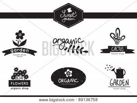 sweet garden, set of floral, garden and organic logo, labels and badges