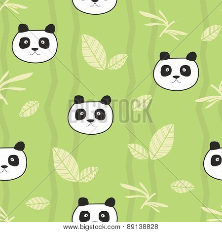 Cute pandas seamless pattern