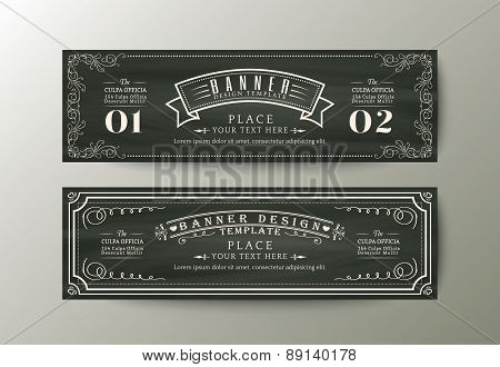 Banner Design Template With Vintage Floral Frame On Chalk Board Background