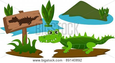 Crocodile in the swamp with warning sign