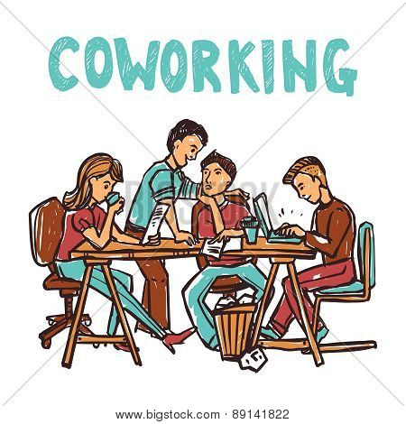 Coworking center with business workgroup at the table sketch vector illustration