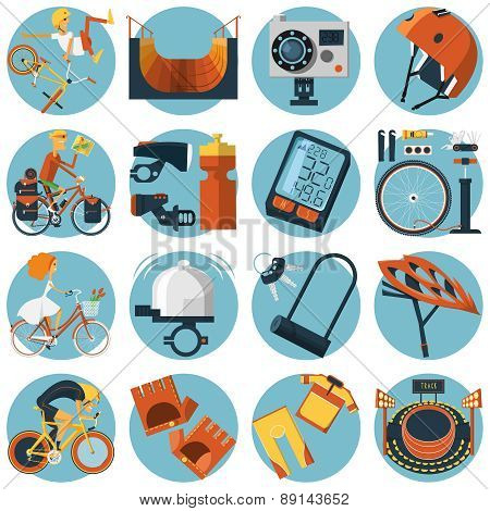 Cycling flat round icons set