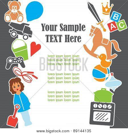 Children Toys Text Template Frame Card, Vector Illustration