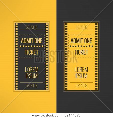 Entry cinema ticket in film footage style. Admit one movie event invitation. Pass icon for online ti