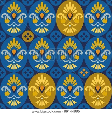 Floral Blue Pattern In Ovals ...