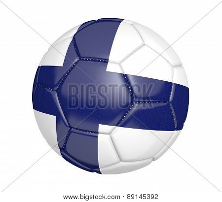 Soccer ball, or football, with the country flag of Finland