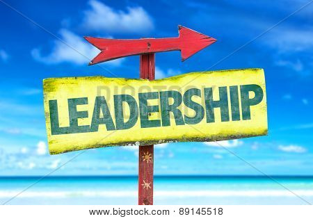 Leadership sign with beach background