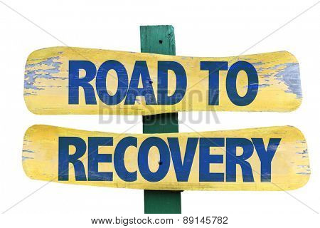 Road to Recovery sign isolated on white
