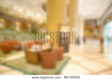 Abstract blurry hotel lobby