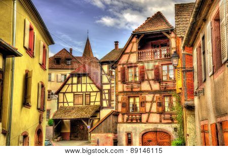 Traditional Timbered Buildings In Hunawihr - Alsace, France
