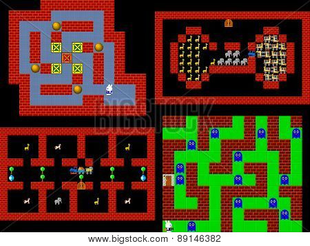 Set Of Retro Style Game Pixelated Graphics