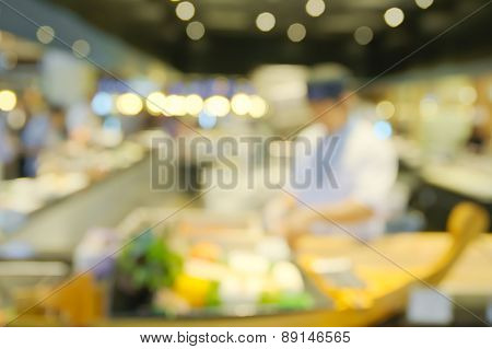 Blurry sushi counter