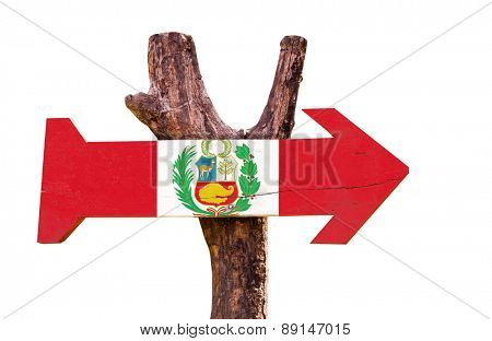Peru Flag wooden sign isolated on white background