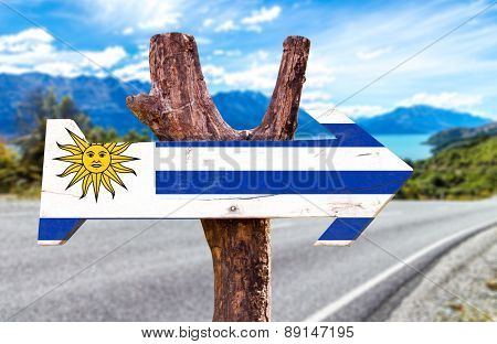 Uruguay Flag wooden sign with road background