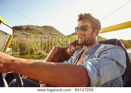 Loving Couple Enjoying On A Road Trip