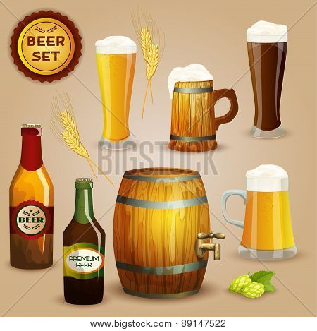 Beer icons composition set poster