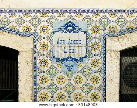 Antiques Portuguese Tiles Hand Painted, Announcing Liqueurs And Spirits.