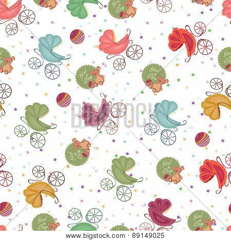 Color Seamless Children Background Of Colored Stars Different Strollers, Toys. Baby Seamless Sets.