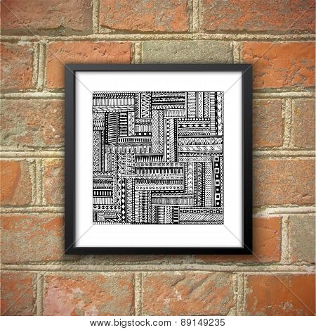 Asian ethnic doodle black and white pattern. Brick wall background.