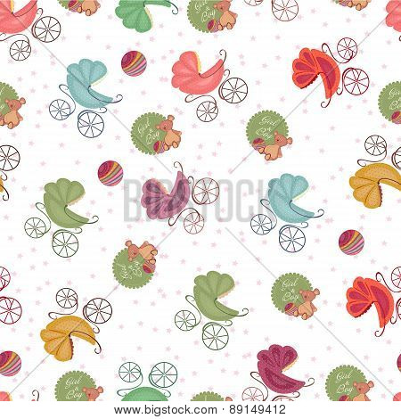 Seamless Baby Background Color Strollers And Toys. Baby Seamless Sets.