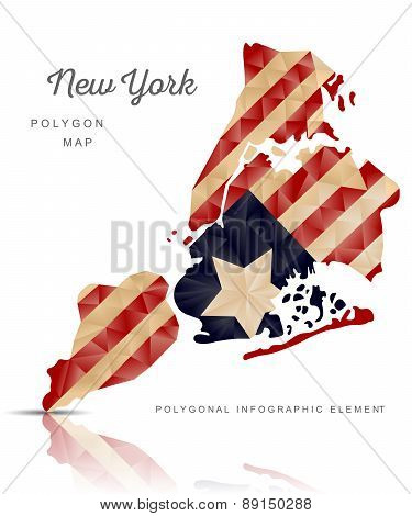 Vector Polygon Map Of New York