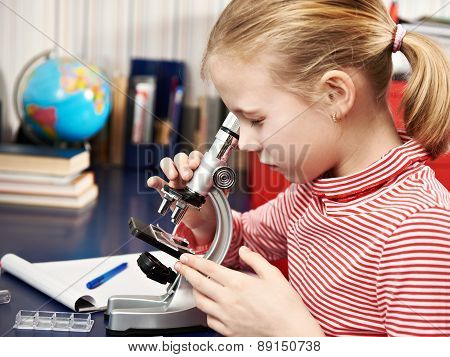 Girl Looking Through A Microscope