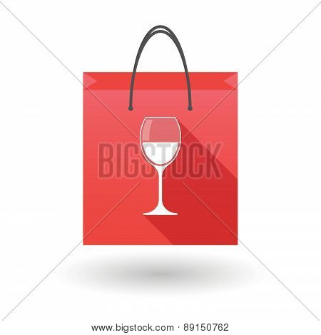 Red Shopping Bag Icon With A Cup Of Wine