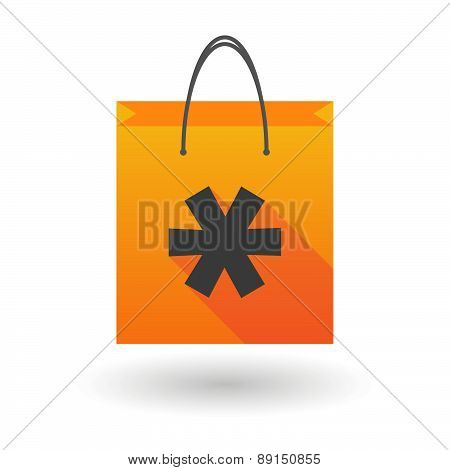 Orange Shopping Bag Icon With An Asterisk