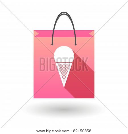 Pink Shopping Bag Icon With A Cone Ice Cream