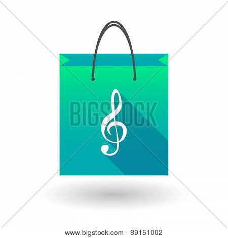 Blue Shopping Bag Icon With A G Clef