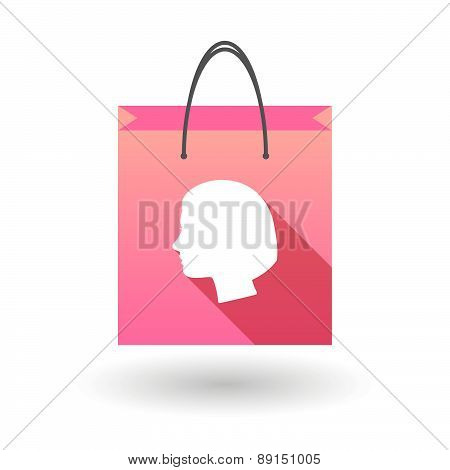 Pink Shopping Bag Icon With A Woman Head