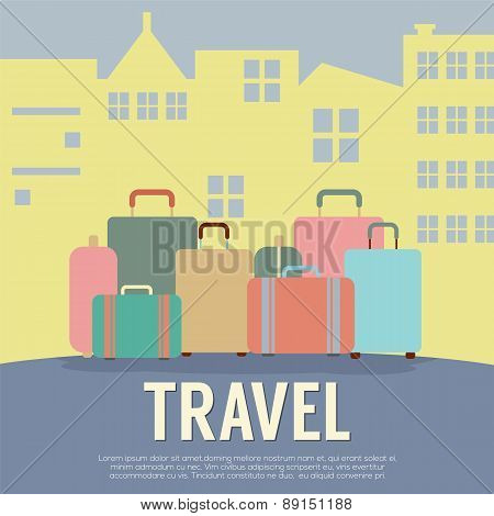 Many Luggage In Front Of Building Travel Concept Vintage Style.