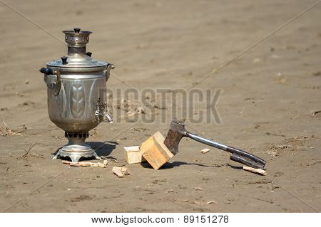 old samovar and a hatchet