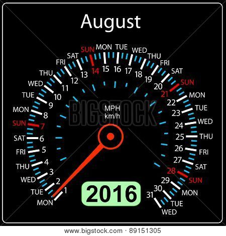 2016 year calendar speedometer car. August. Vector illustration.