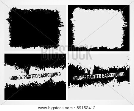 Set of abstract grunge frame texture background and banner