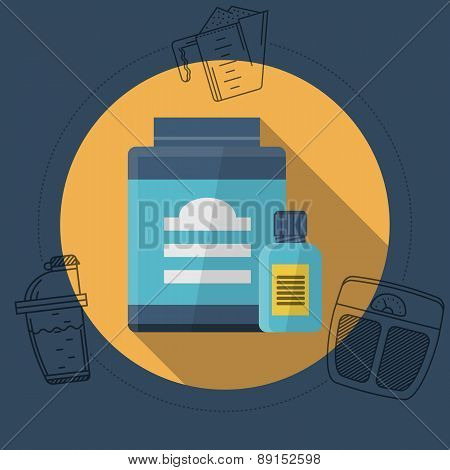 Flat color vector illustration for athlete diet