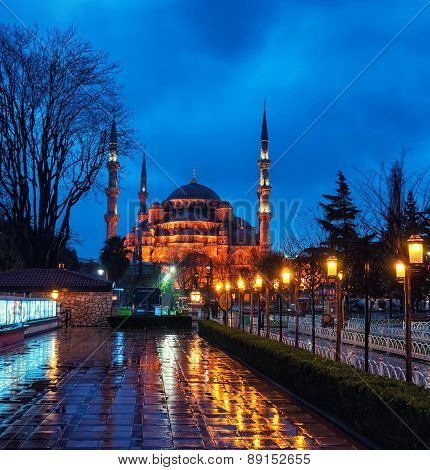 Sultan Ahmed Blue Mosque At Night. Istanbul, Turkey