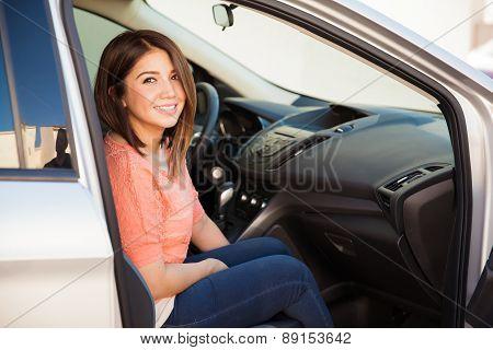 Woman On Passenger Seat