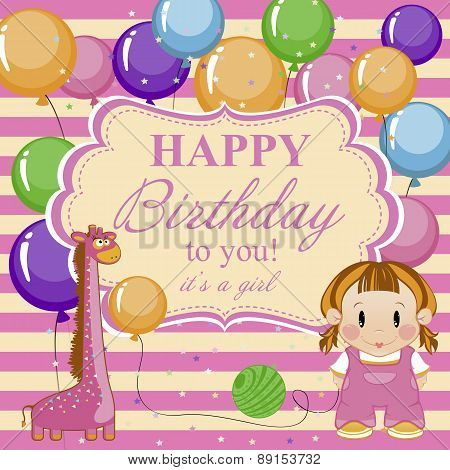 Little Funny Girl With Toys And Balloons. Greeting Card For Baby Girl A Happy Birthday.