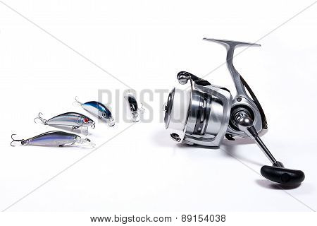 Fishing Reel With Plastic Fishing Baits.