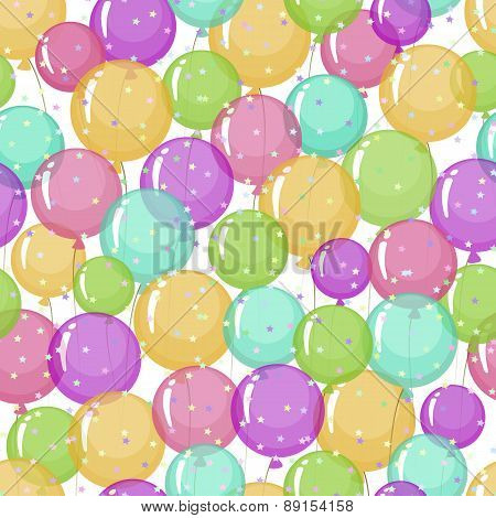 Seamless Pattern Of Stylized, Colored, Transparent, Inflatable Balls With Stars.